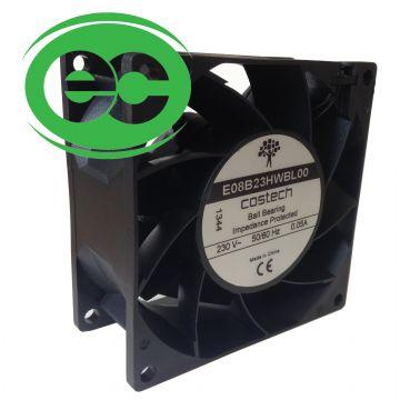 E08B23HWBL00 EC Axial Compact Fan 80x80x38mm 68m³/h 5W 230V Ball Bearing