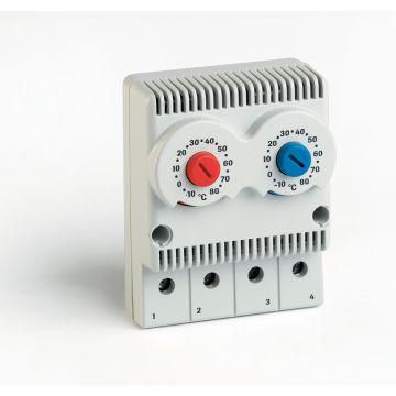 TRT2-10A230V-NCNO Twin Enclosure Thermostat 12-60Vdc, 110-250Vac