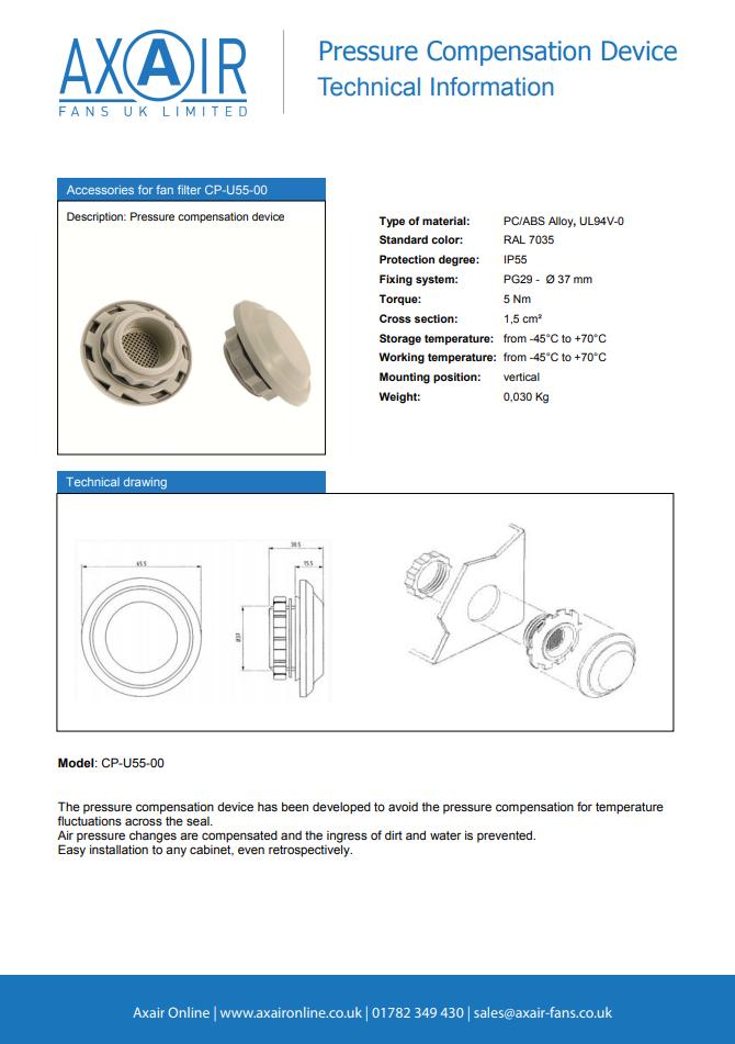 CP-U55-00 Pressure Compensation Device