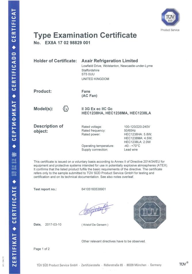 HEC ATEX Test Certificate